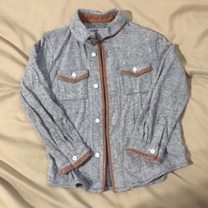 Gray with brown faux leather lining button up